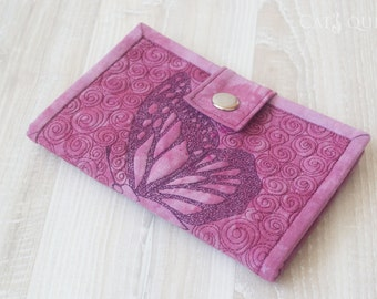 "Wallet ""Butterfly"". Plum wallet. Wallet for women. Wallet for girl. Quilted wallet"