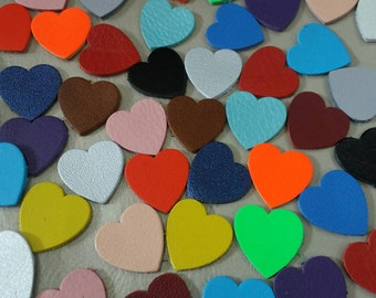 Leather Hearts, 20 mm. (2 cm.), Mixed Colors, Hearts Shape,  Leather Hearts Die Cut, Leather Decoration, DIY Projects.