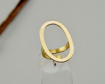 Open oval ring, brass hole ring, simple band, middle finger ring, index finger ring, fashion plain ring, contemporary jewelry.