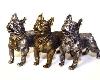 French Bulldog - miniature figurine dog out of a tin pewter, statuette