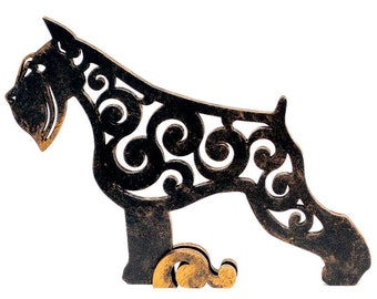 Statuette Schnauzer, figurine dog made of wood, hand-painted with acrylic and metallic paint