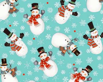Frosty Fun Fabric Collection - Teal Snowmen Toss Fabric by Sue Zipkin for Clothworks Fabrics - Listed by the Half Yard, holiday fabric