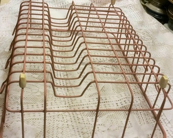 Vintage Pink Rubberized Metal Dish Drainer Rack with Tupperware Gagets