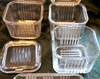 5-Federal Sm Refrigerator Dishes, 1-Lid, 1-Butter Dish Top-Your Choice-Each Sold Separately