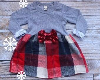 Girls Christmas Dress, Baby Girls Christmas Outfit, Christmas Set, My first Christmas, Newborn baby christmas, Girls Holiday Dress,