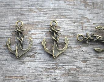 20pcs-Anchor charms - Antique Bronze Anchor Charm Pendants 18x27mm D0887