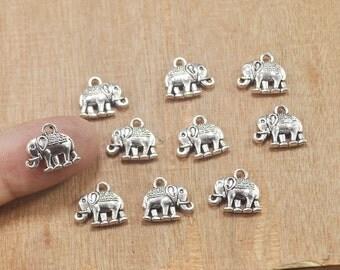 Antique Silver Small 3D Elephant Charm,30pcs Tiny Elephant Pendants,Animal Pendant 14x12mm