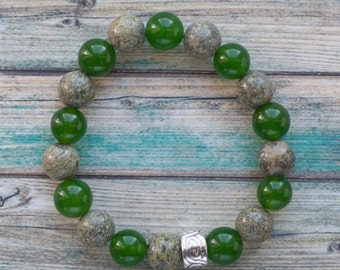Jade and lizardite bracelet, natural green stone bracelet with silver spacer