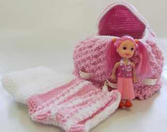 Hand Knitted Dilly Bag, hand knitted bag, girl's first bag, doll bag, toy doll bag, two in one bag, reversible dilly bag, bright colour bag