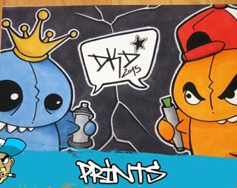 Graffiti Character Cartoon Comic by DKDrawing 15 x 21 cm Print on glossy cardboard