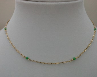 Jade Bead Necklace, Vintage Jade Necklace, Gold Filled Jade, Jade Chain Necklace, Paperclip Chain, Green Bead Necklace,Jade Station Necklace