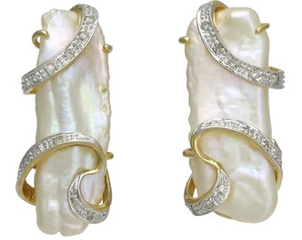 14K Gold Baroque Cultured Pearl and Diamond Earrings