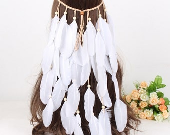 Gypsy adjustable feather headband # HWW16005