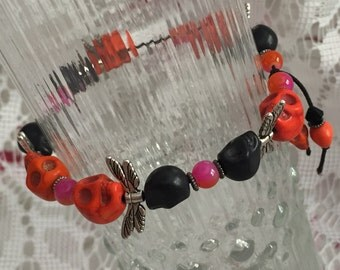 Orange and Black Stone Skullfly Stretch Bracelet