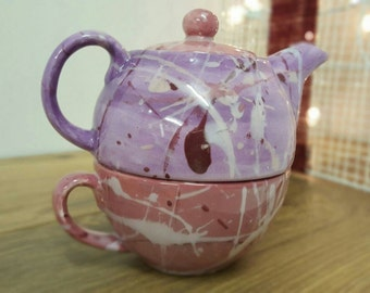English Teapot Tea For One Hand Painted Ceramic Teapot Tea Lover Personalised Gift Purple