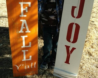 Reversible Happy Fall Y'All and Joy pallet sign.