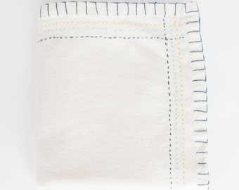 Hand Embroidered Heirloom Baby Blanket or Swaddle #400