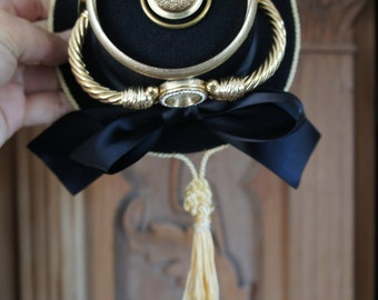 One Of A Kind Steampunk Victorian Gothic Mini Top Hat Buckle Front, Gold Metal Watch, Metal Rim Top With Faux Pearl And Gold Metal Detail