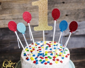1 Cake topper, 1 cake and balloon cake topper, birthday cake decorations, Cake topper