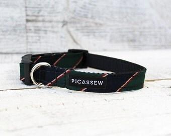 Medium Dog Collar ~ Hunter Green Stripe (Upcycled Mens Necktie)