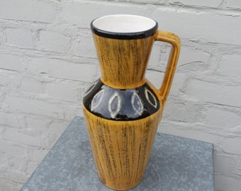 Vintage 60s  yellow and black ceramic vase
