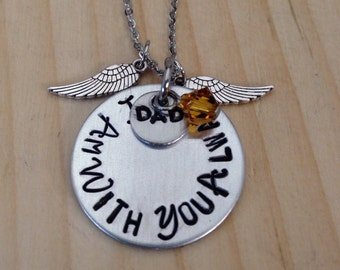 """Memorial necklace """"I Am With You Always"""" with wings, pearl/ Swarovski birthstone, and smaller disc stamped with Mom or Dad. Hypoallergenic"""