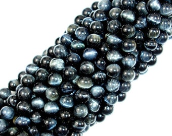 Blue Tiger Eye, 6mm Round Beads, 15.5 Inch, Full strand, Approx 66 beads, Hole 1 mm, A quality (165054010)