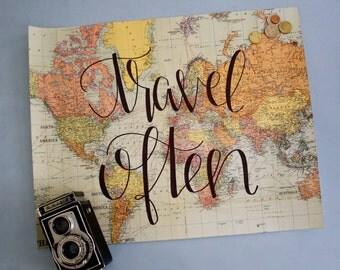 Travel Often World Map Print