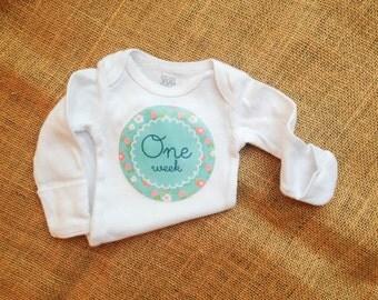 One Week Onesie - Baby girl  - SALE