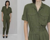 Vintage 80s 90s Army Green MECHANIC Loop Collar Jumpsuit Boho Dress Romper S M