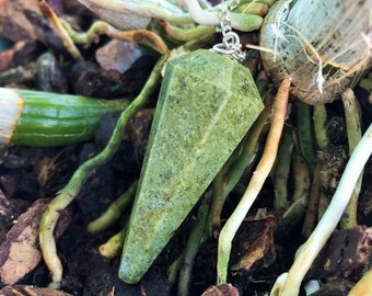 Vesuvianite Crystal Pendulum infused with Reiki