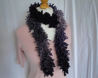 purple scarf for her, purple shaggy boa, boho fashion scarf, wool-mix muffler, purple ombre tippet, knitted neck-warmer, long skinny scarf