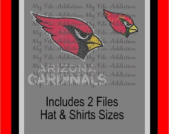 Instant Download Rhinestone SVG EPS Design File Arizona Cardinals Football Hat & Shirt Combo Pack
