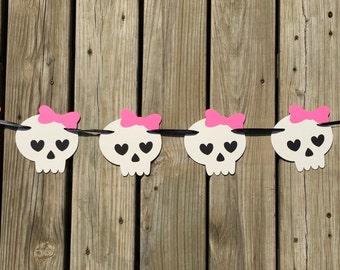 Skull and Bows Garland   Girlie Skulls Garland   Halloween Banner   Skulls Decor   Girlie Decoration