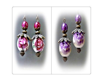 Porcelain bronzed vintage style petite drop earrings, choose rose pink or purple and Clip on or Pierced