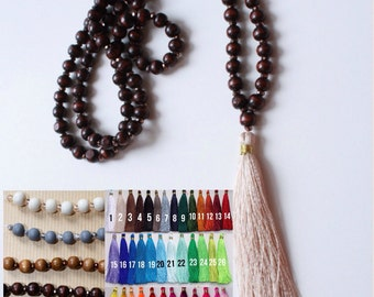 Custom wooden and glass beaded tassel necklace