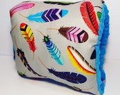 Multicolored Feathers Nursie Arm Pillow/Aztec Breastfeeding Pillow/ Support Pillow/ Travel Pillow/ Alexander Henry Fabric