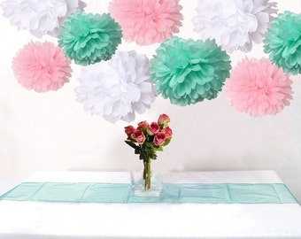 18-Pack Mixed Pink Mint Green White DIY Tissue Paper Flower Pom Poms Wedding Birtday Baby Shower Hanging Party Decoration