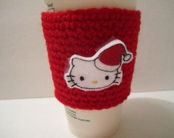 Cup Cozy with Hello Kitty wearing Santa Hat Felt Emblem