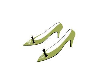 green pumps digital print, shoe lover print, dressing room art, digital downloadable art, JPEG