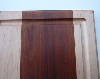 """Handmade wooden cutting board with juice groove- 3/4"""" thick-oak, cherry, walnut and maple, cheese board, wooden tray, #161"""
