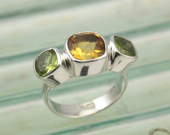 Dandelion Sterling Silver Ring with Cushion Cut Citrine and Peridot Stones / Fine Silver Jewelry