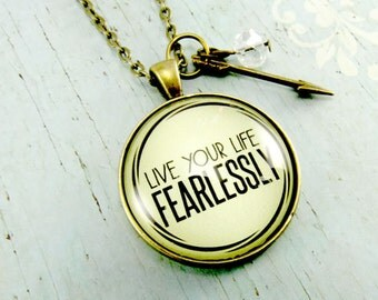Life Your Life Fearlessly Fearless Necklace You are Brave so Be Fearless, Strength Necklace, Survivor Necklace, Do Not Fear