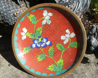 Antique Chinese Cloisonne Trinket Dish - 4""