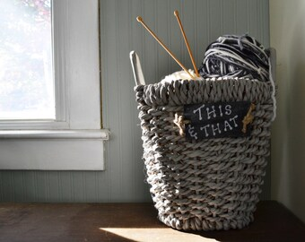Wicker Basket / Dove Gray with chalkboard Tag / 14 x 10 x 14 with 2 Handles / Chalk Paint Finish