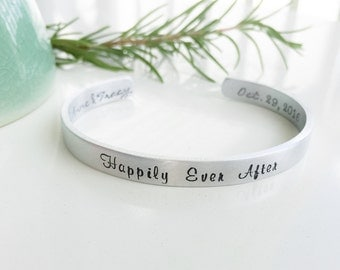 Personalized Bracelet Cuff-Stamped Bracelet-Accessories-Wedding Gift-Bride to Be Jewelry-Engagement Gift-Hand Stamped Jewelry