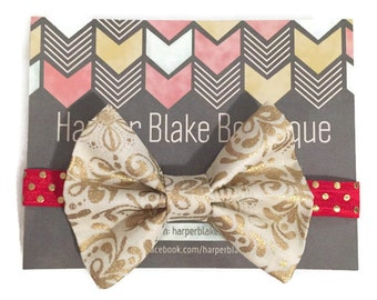 Gold Metallic Floral Fabric Bow