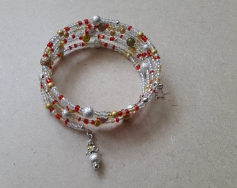 Red, clear and gold memory wire bracelet with silver accents