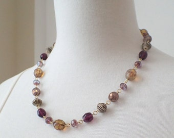 Wire Wrapped Czech Glass Bead Statement Necklace