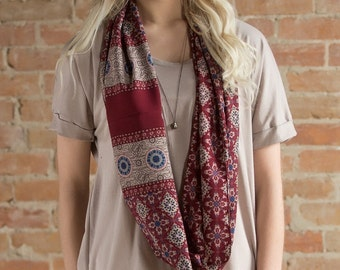 Cecilia Infinity Scarf in Wine